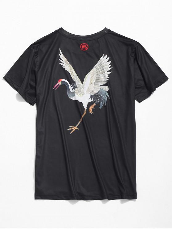 T-shirt Grue à Couronne Rouge Imprimée à Manches Courtes - Noir XL
