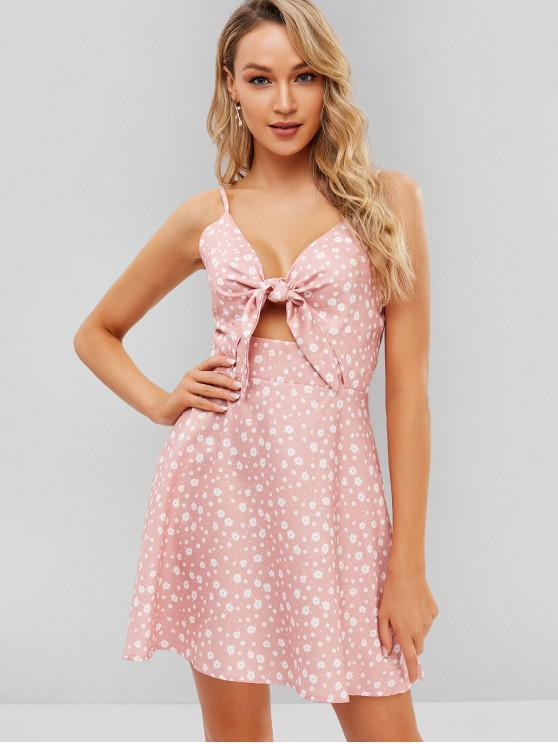 fashion Tie Front Floral Cut Out Cami Dress - LIGHT PINK M