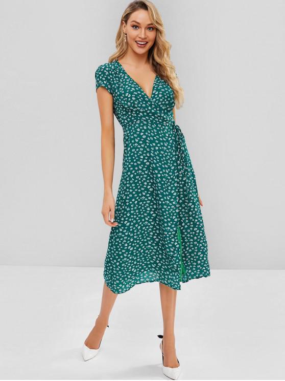 chic Cap Sleeve Floral Wrap Midi Dress - GREEN M
