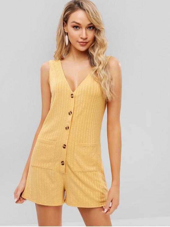 chic ZAFUL Buttoned Pockets Sleeveless Romper - BEE YELLOW L