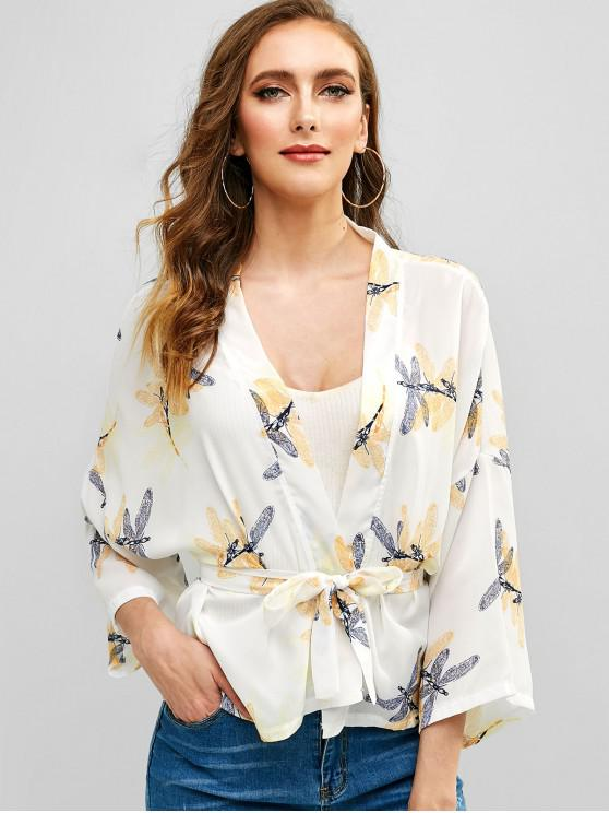 women Dragonfly Print Belted Open Blouse - MILK WHITE L