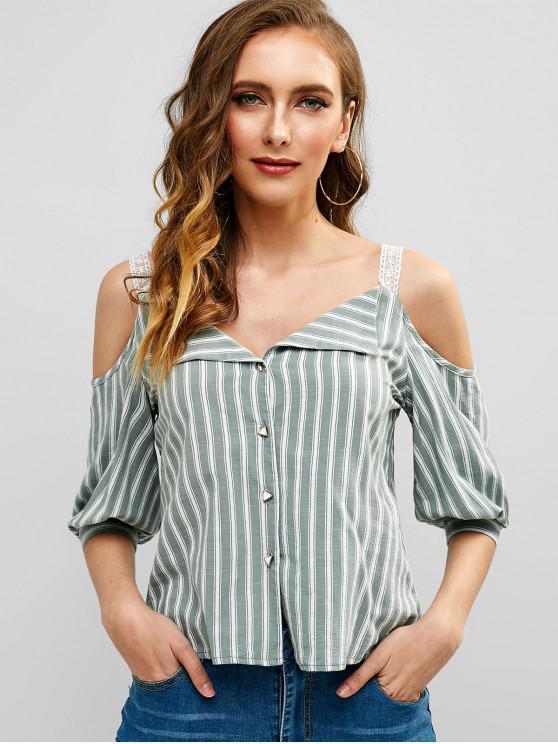affordable ZAFUL Cold Shoulder Striped Crop Blouse - BLUE HOSTA L