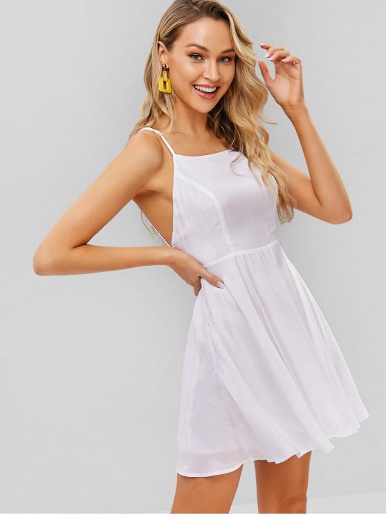 hot ZAFUL Backless Spaghetti Strap Flare Dress - WHITE M