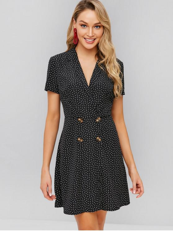 outfit ZAFUL Buttoned Lapel Short Print Dress - BLACK M