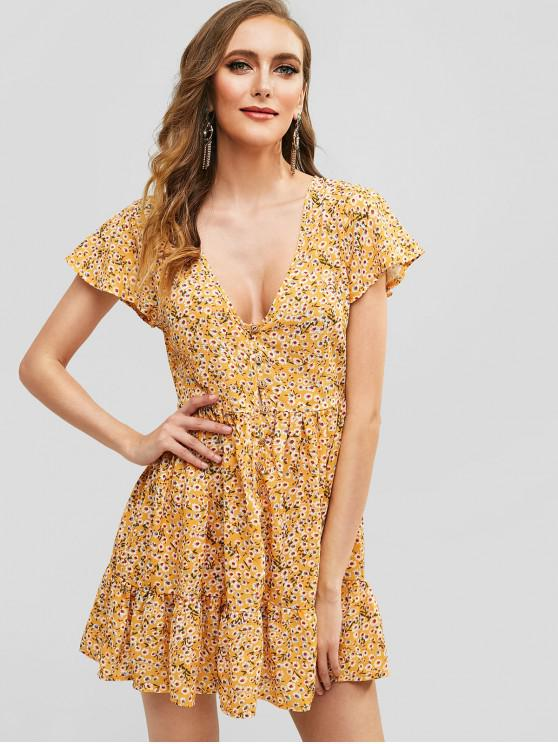 hot Half Buttoned Daisy Print A Line Dress - YELLOW M