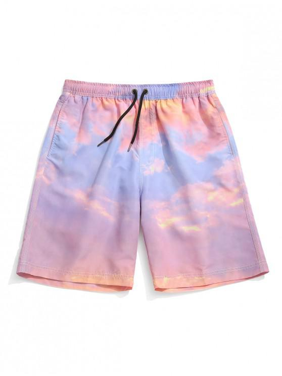 affordable Tie Dye Painting Print Board Shorts - PIG PINK M