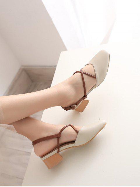 hot Square Toe Thick Heel Sandals - APRICOT EU 34 Mobile