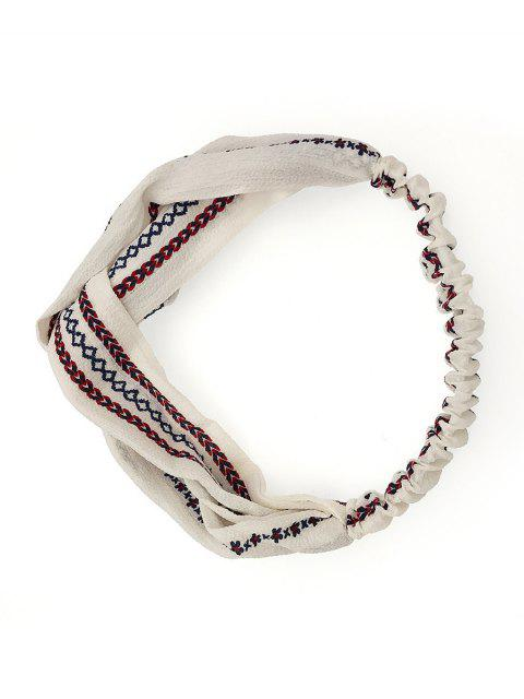 women's Flower Print Knotted Headband - WHITE  Mobile