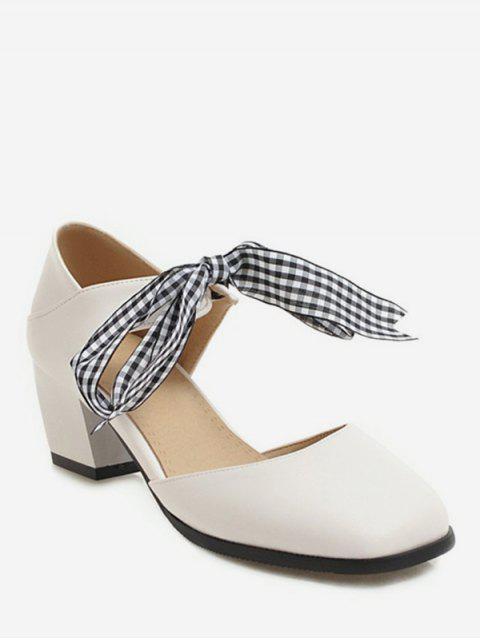 best Sweet Plaid Bow Chunky Heel Sandals - BEIGE EU 34 Mobile