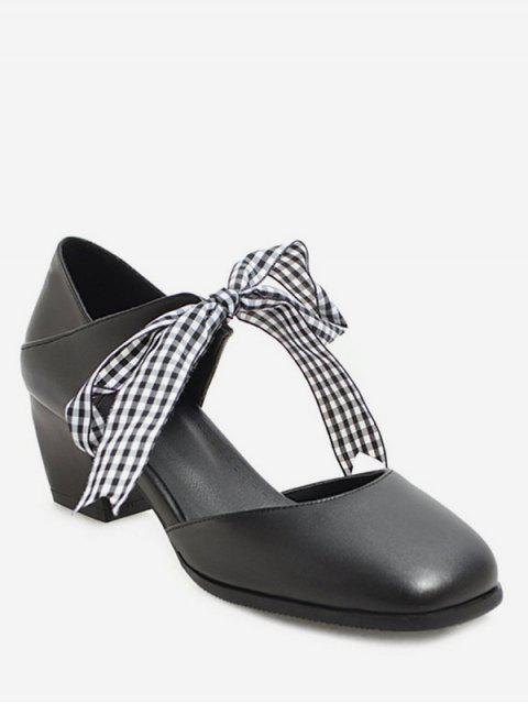 lady Sweet Plaid Bow Chunky Heel Sandals - BLACK EU 37 Mobile