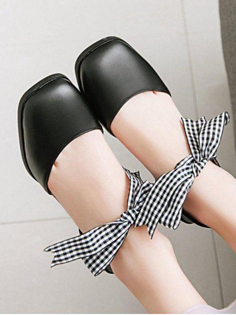 Клетчатые Сладкие Сандалии На толстом каблуке - Чёрный ЕС 37 Mobile