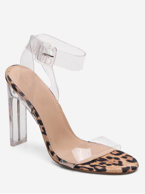 e14bf374af5 32% OFF  2019 Transparent PVC Strap Block Heel Sandals In LEOPARD ...