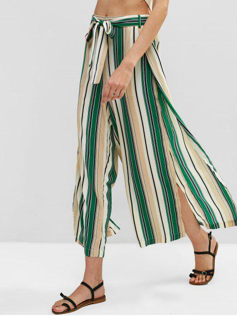 ladies Slit Colorful Striped Pants - MULTI-A XL Mobile