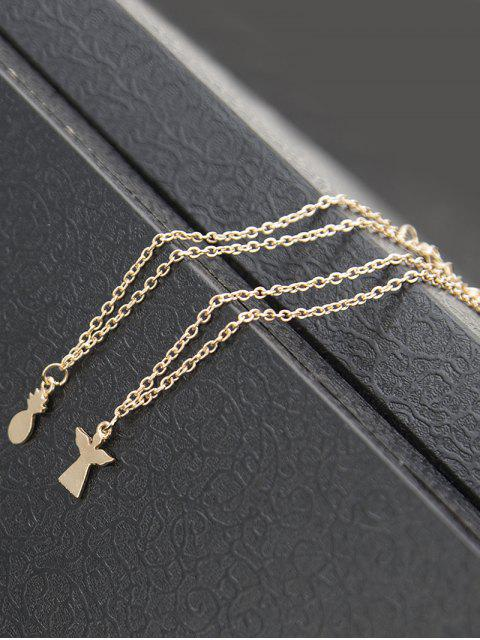shops Angle Pineapple Design Chain Anklets - GOLD  Mobile