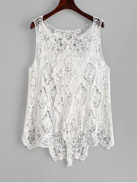 unique Draped Crochet Cover-up - WHITE ONE SIZE Mobile
