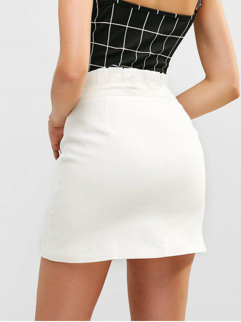 latest High Waist Button Fly Solid Skirt - WHITE XL Mobile