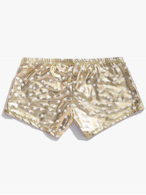 new Star Print Metallic Brief Shorts - CHAMPAGNE GOLD XL Mobile
