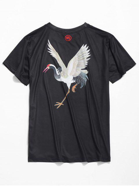 shop Red-crowned Crane Print Short Sleeves Tee - BLACK 2XL Mobile