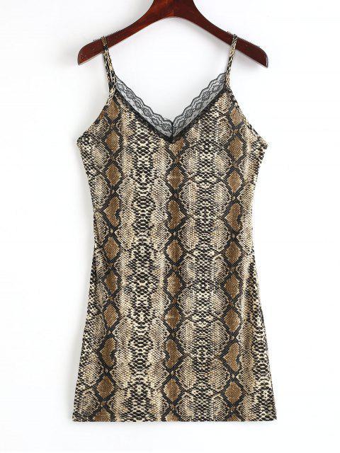 unique Snakeskin Lace Insert Pajama Bodycon Dress - MULTI-A L Mobile