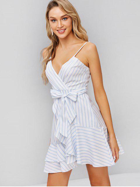 fashion Belted Stripes Ruffles Cami Dress - WHITE M Mobile