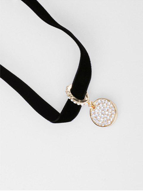 trendy Rhinestone Round Pendant Choker Necklace - BLACK  Mobile