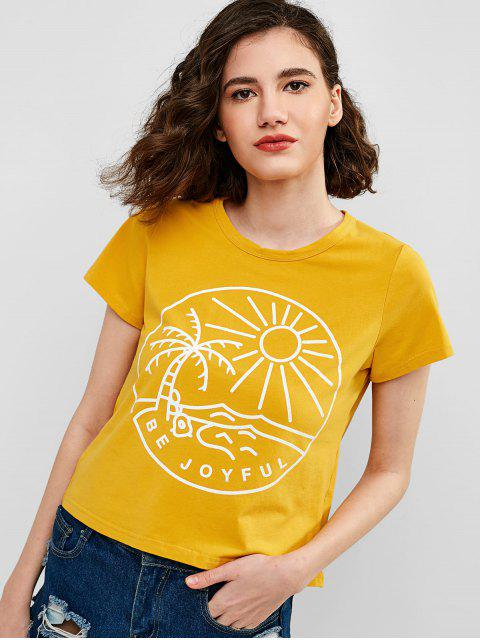 buy ZAFUL Letter Graphic Short Sleeves Tee - YELLOW S Mobile