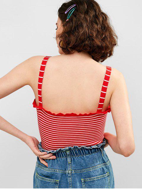 ZAFUL Ruffles Striped Crop Regata - Vermelho L Mobile