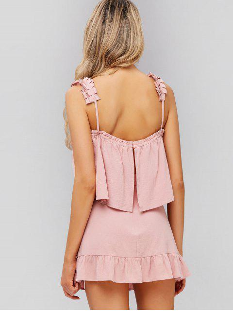 shop ZAFUL Slit Top And Ruffles Skirt Set - PINK M Mobile