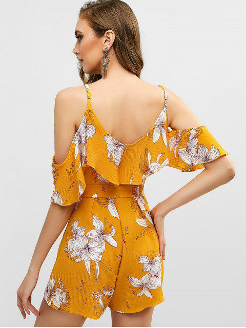 womens Floral Print Flounce Belted Wide Leg Romper - BEE YELLOW S Mobile