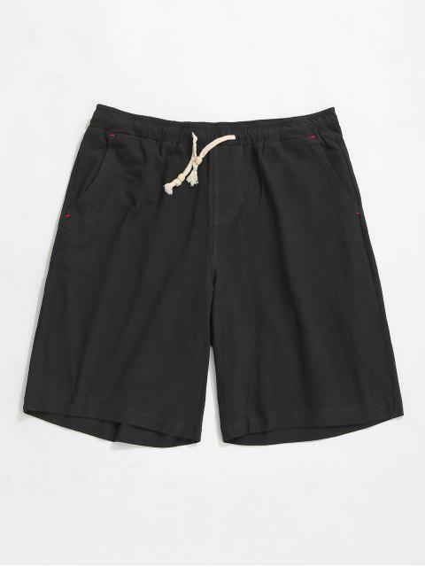 Shorts elásticos de cordón de color sólido - Negro XS Mobile