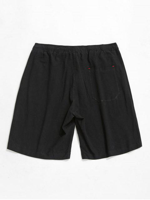 Shorts elásticos de cordón de color sólido - Negro S Mobile
