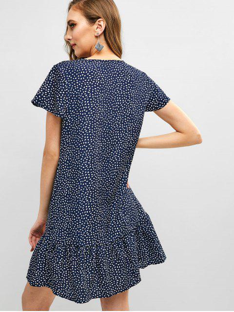 womens V Neck Water Drop Print Flare Dress - DEEP BLUE L Mobile