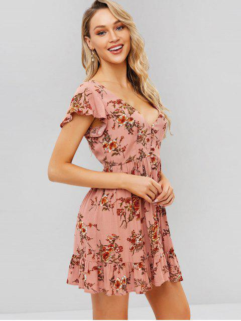 online ZAFUL Button Up Floral A Line Dress - PINK S Mobile
