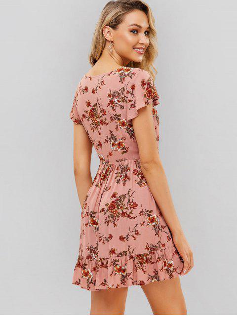 ZAFUL Button Up Floral un vestido de línea - Rosado L Mobile