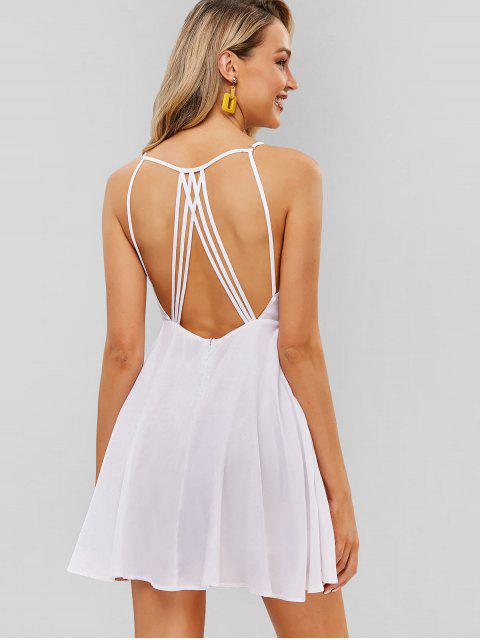 hot ZAFUL Backless Spaghetti Strap Flare Dress - WHITE M Mobile