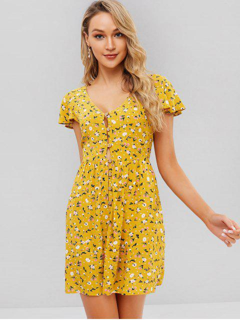 outfit ZAFUL Floral Print Buttoned A Line Dress - BEE YELLOW L Mobile