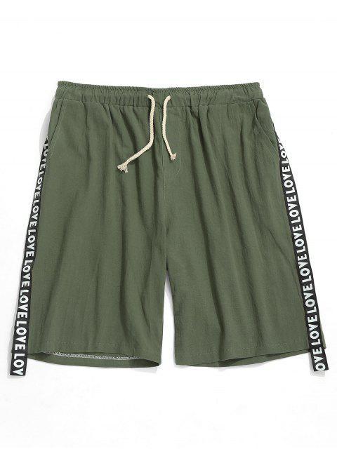 Cartas Imprimir Cinta Pantalones cortos de color sólido - Ejercito Verde S Mobile