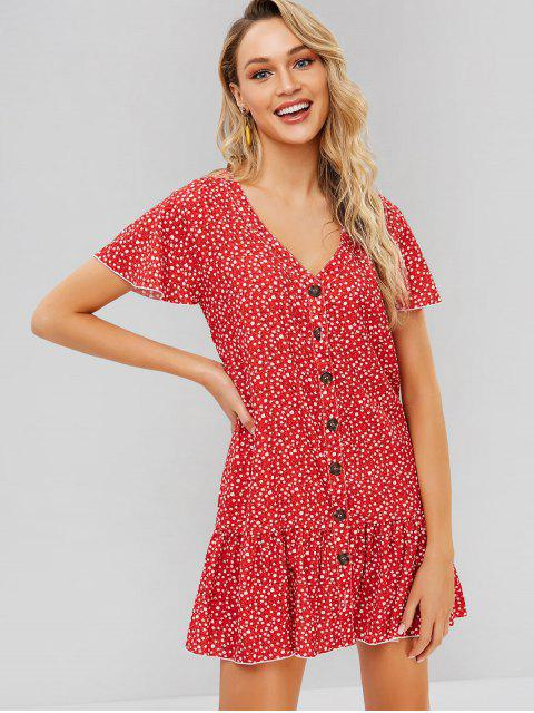 Mini Robe Fleurie Boutonnée - Rouge M Mobile