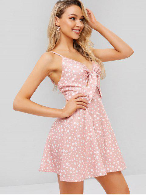 unique Tie Front Floral Cut Out Cami Dress - LIGHT PINK L Mobile