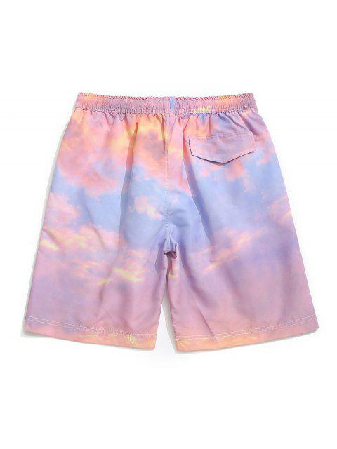 affordable Tie Dye Painting Print Board Shorts - PIG PINK M Mobile
