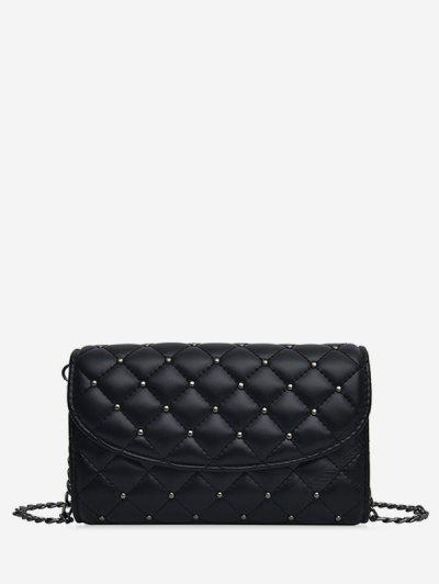 Crossbody Solid Grid Pattern Shoulder Bag - Black Small Size