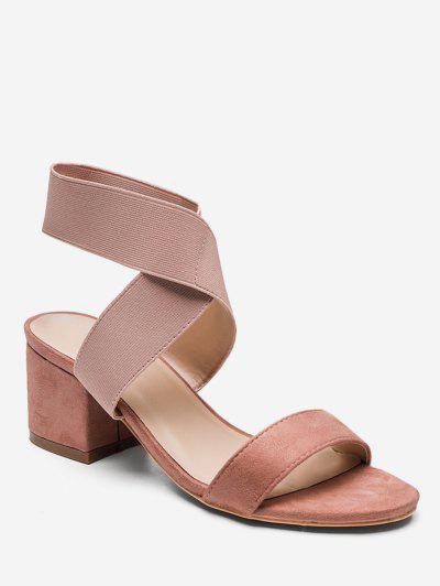 fd5f9e386815 Cross Stretch Elastic Chunky Heel Sandals - Light Pink Eu 37 ...