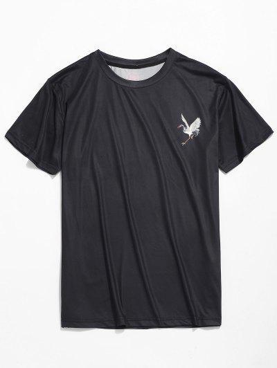 921b3224c430b3 Red-crowned Crane Print Short Sleeves Tee - Black S