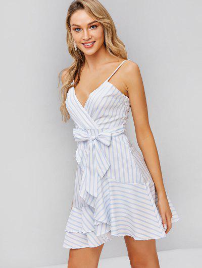 a2742f8491a3c Belted Stripes Ruffles Cami Dress - White M