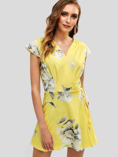 ee077eb31b950 Floral Print Cap Sleeves Wrap Dress - Yellow - Yellow L
