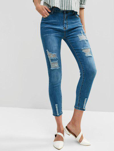 High Waisted Ripped Skinny Pocket Jeans