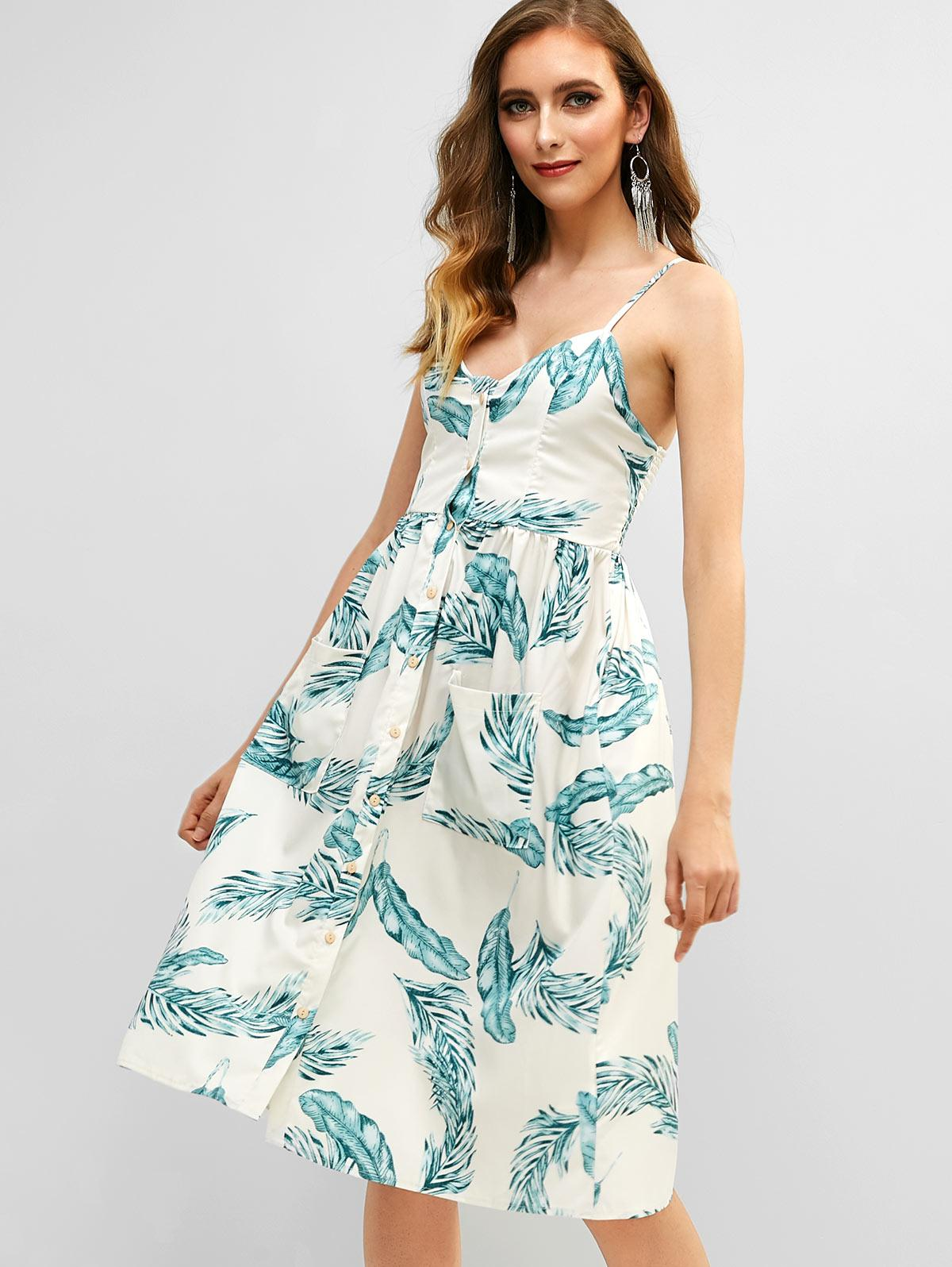 Button Up Smocked Leaves Print Cami Dress, White