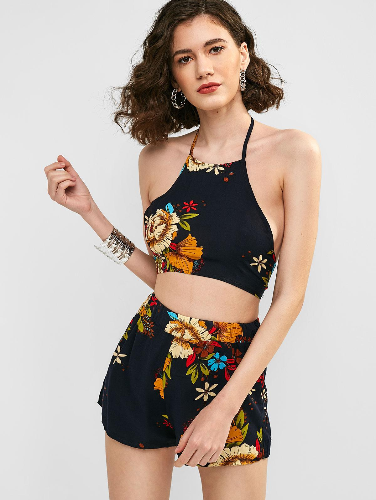 Floral Print Halter Neck Top and Shorts Set, Deep blue