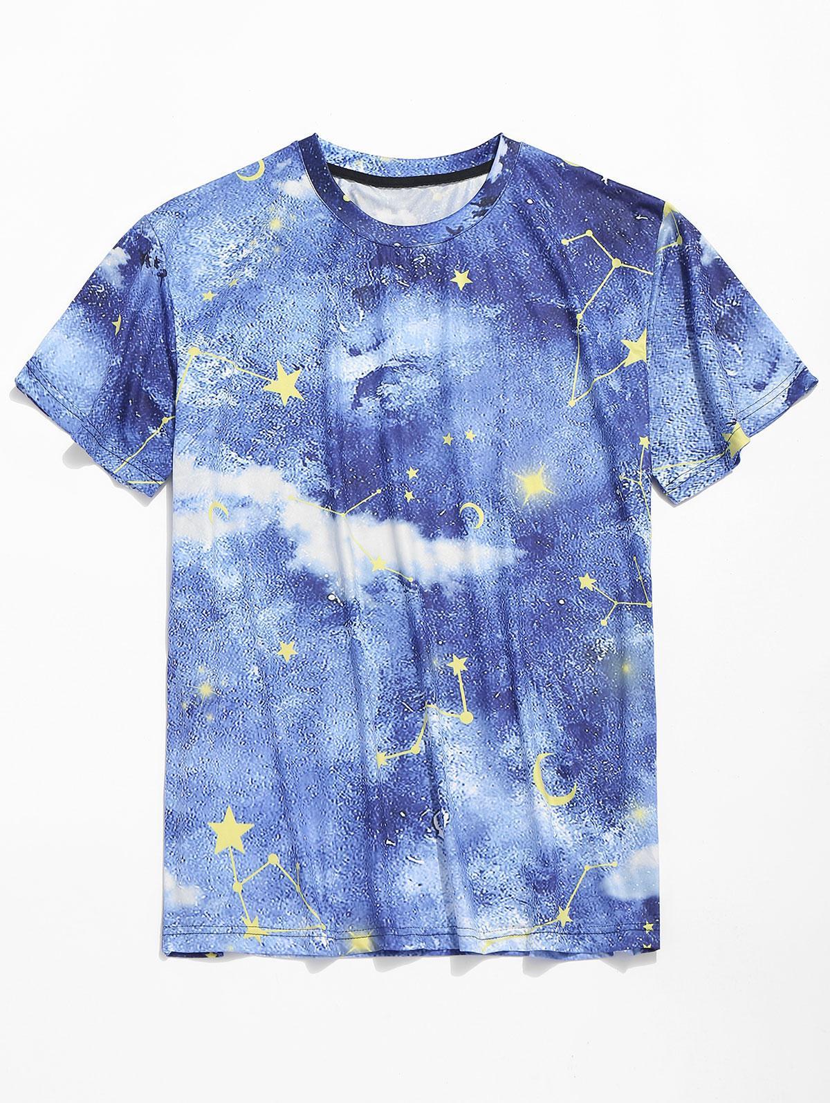 Short Sleeves Galaxy Star Moon Print T-shirt, Blueberry blue