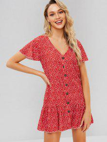 زر لأعلى Tiny Floral Mini Dress - أحمر L